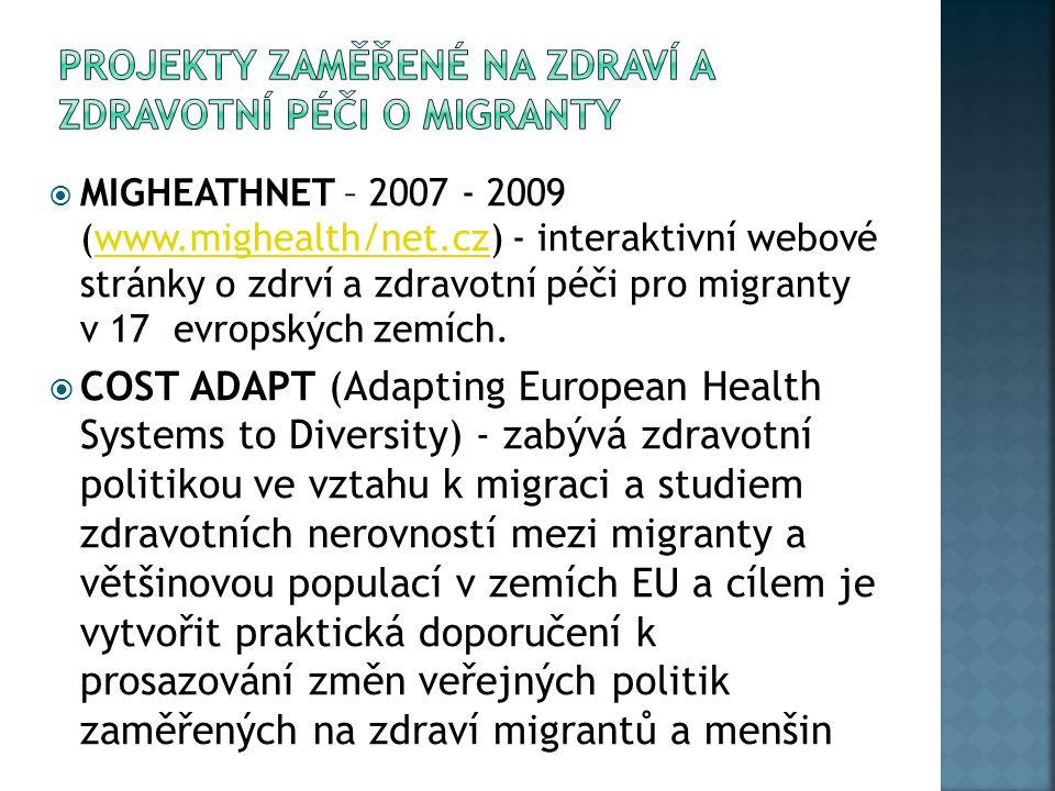  MIGHEATHNET – 2007 - 2009 (www.mighealth/net.cz) - interaktivní webové stránky o zdrví a zdravotní péči pro migranty v 17 evropských zemích.www.migh