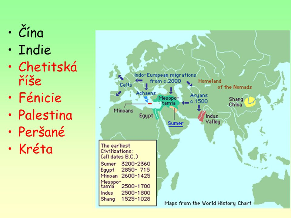 Čína Indie Chetitská říše Fénicie Palestina Peršané Kréta