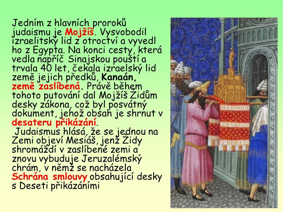 Judaismus nejstarší monoteistické náboženství (= víra v jediného boha) Židé -potomci Abrahama, kteří opustili Mezopotámii, se usadili v Kanaánu (dnešn