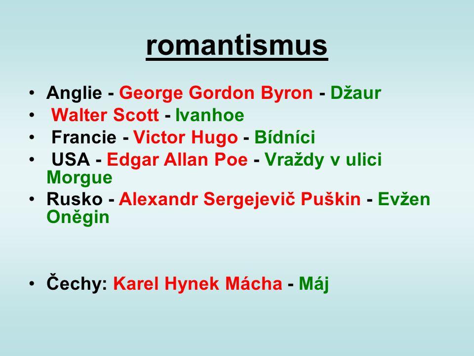 romantismus Anglie - George Gordon Byron - Džaur Walter Scott - Ivanhoe Francie - Victor Hugo - Bídníci USA - Edgar Allan Poe - Vraždy v ulici Morgue