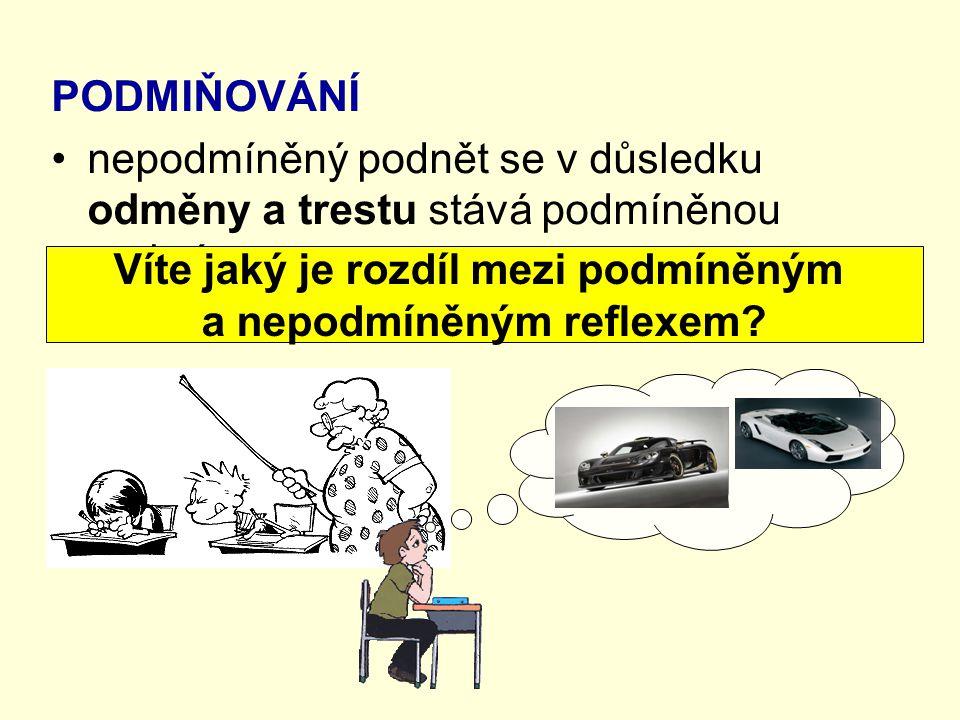 PODMIŇOVÁNÍ nepodmíněný podnět se v důsledku odměny a trestu stává podmíněnou reakcí Víte jaký je rozdíl mezi podmíněným a nepodmíněným reflexem?