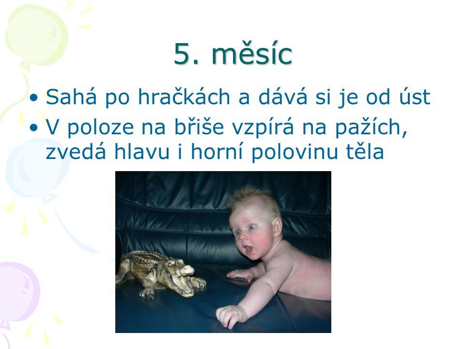 5. měsíc Sahá po hračkách a dává si je od úst V poloze na břiše vzpírá na pažích, zvedá hlavu i horní polovinu těla