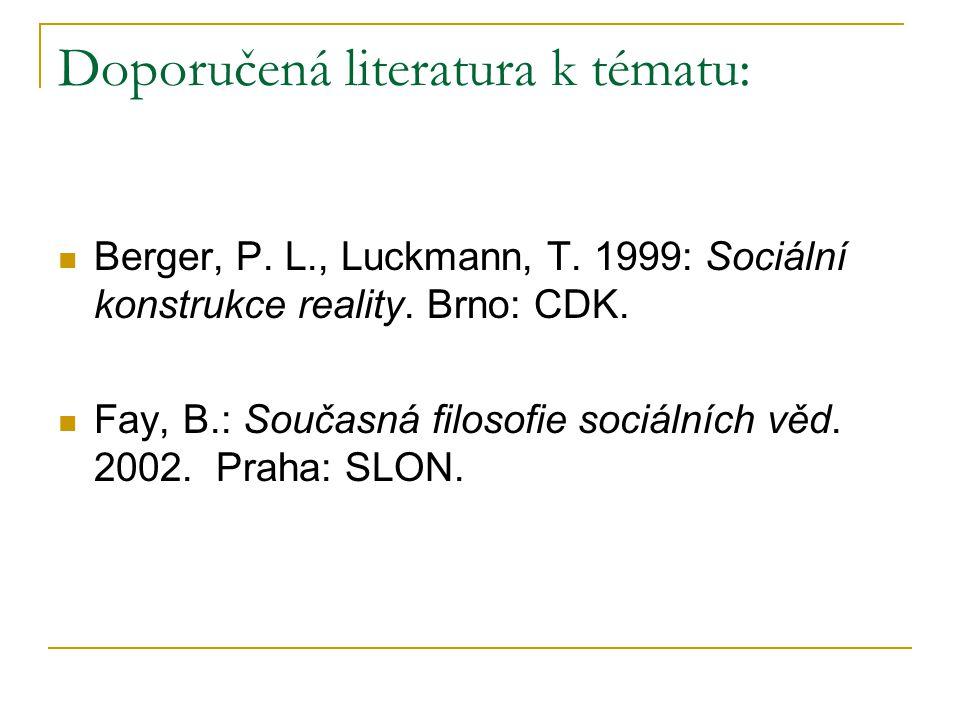 Doporučená literatura k tématu: Berger, P. L., Luckmann, T. 1999: Sociální konstrukce reality. Brno: CDK. Fay, B.: Současná filosofie sociálních věd.