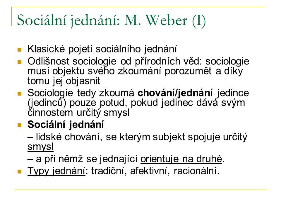 Sociální jednání: M. Weber (I) Klasické pojetí sociálního jednání Odlišnost sociologie od přírodních věd: sociologie musí objektu svého zkoumání poroz