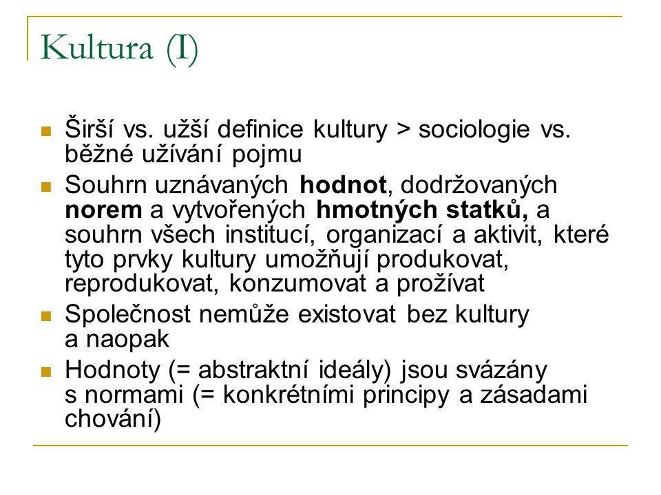 Kultura (I) Širší vs. užší definice kultury > sociologie vs. běžné užívání pojmu Souhrn uznávaných hodnot, dodržovaných norem a vytvořených hmotných s
