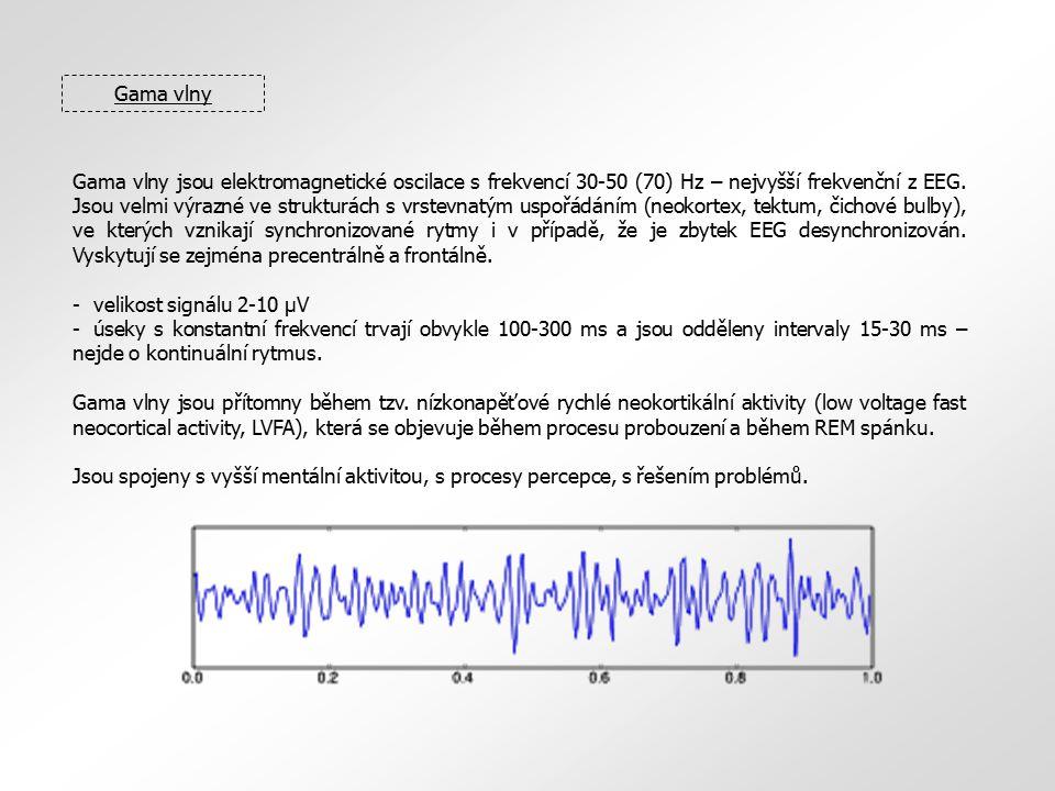 EEG topografie (EEG mapování) EEG mapování je zobrazovací technika, při níž se pomocí většího množství EEG elektrod získává prostorový obraz aktivity jednotlivých částí kortexu, promítnutý na povrch lebky.