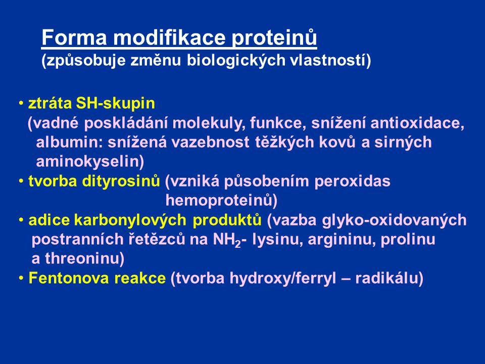 Forma modifikace proteinů (způsobuje změnu biologických vlastností) ztráta SH-skupin (vadné poskládání molekuly, funkce, snížení antioxidace, albumin: