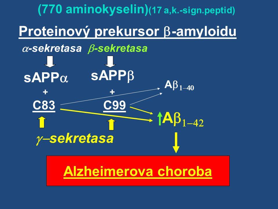 Proteinový prekursor  -amyloidu  -sekretasa  -sekretasa  (770 aminokyselin) (17 a,k.-sign.peptid) Alzheimer