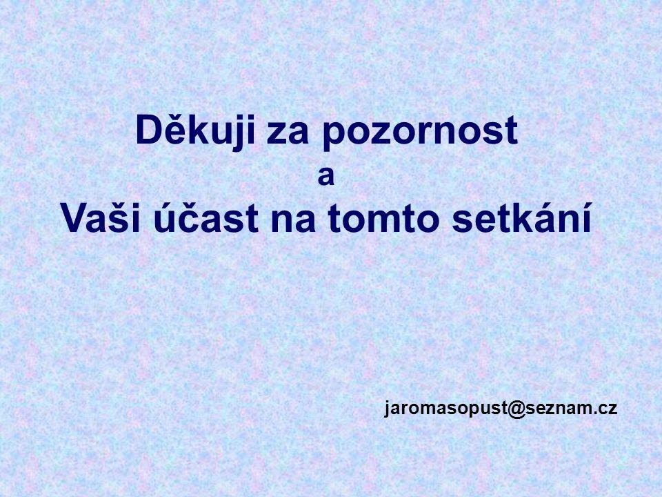 Děkuji za pozornost a Vaši účast na tomto setkání jaromasopust@seznam.cz