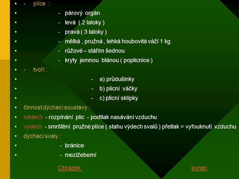 - plíce : - párový orgán - levá ( 2 laloky ) - pravá ( 3 laloky ) - mělká, pružná, lehká houbovitá váží 1 kg - růžové – stářím šednou - kryty jemnou blánou ( poplicnice ) - tvoří : - a) průdušinky - b) plicní váčky - c) plicní sklípky činnost dýchací soustavy : nádech - rozpínání plic - podtlak nasávání vzduchu výdech - smrštění pružné plíce ( stahu výdech svalů ) přetlak = vyfouknutí vzduchu dýchací svaly : - bránice - mezižeberní konecObrázek