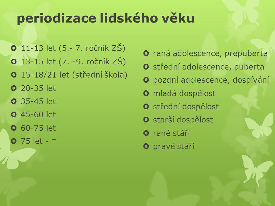 periodizace lidského věku  11-13 let (5.- 7. ročník ZŠ)  13-15 let (7. -9. ročník ZŠ)  15-18/21 let (střední škola)  20-35 let  35-45 let  45-60