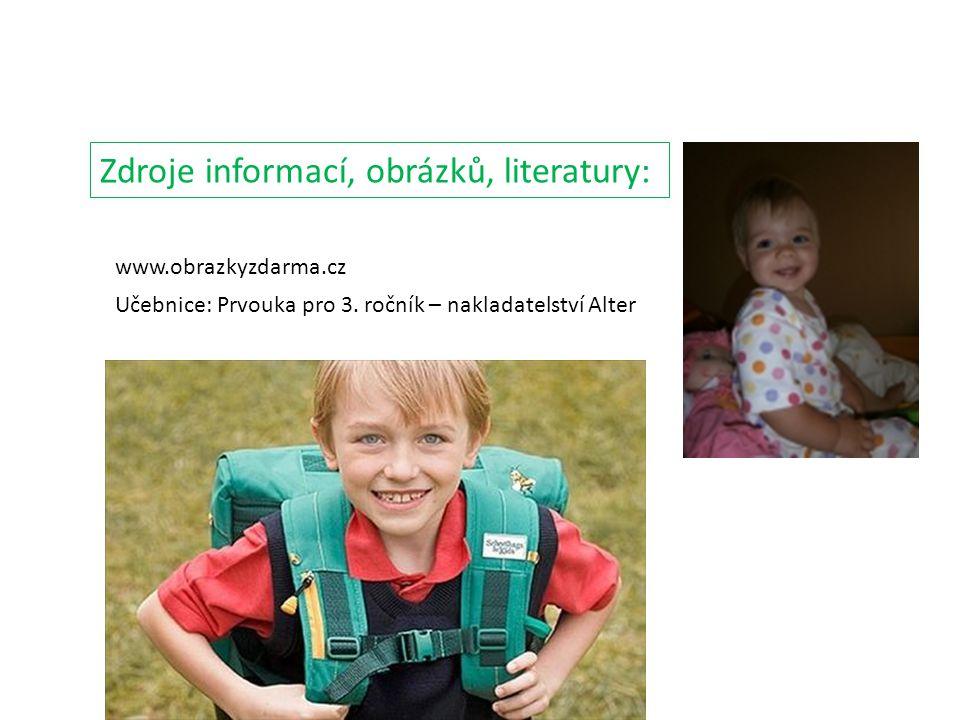 www.obrazkyzdarma.cz Zdroje informací, obrázků, literatury: Učebnice: Prvouka pro 3. ročník – nakladatelství Alter