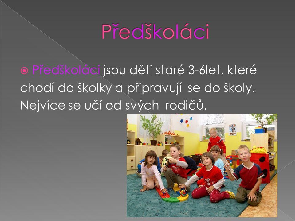  Předškoláci jsou děti staré 3-6let, které chodí do školky a připravují se do školy.