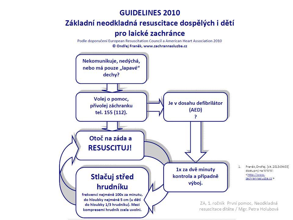 Diagnostika zástavy základních životních funkcí (dle Guidelines 2010) http://www.