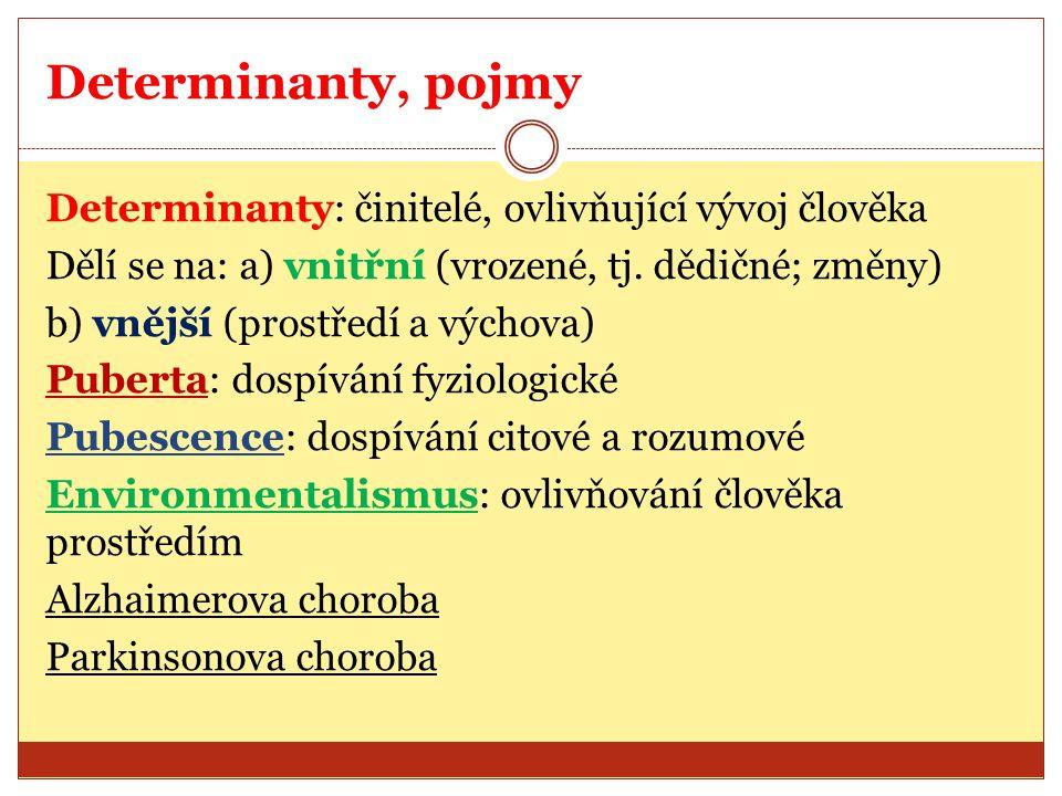 Determinanty, pojmy Determinanty: činitelé, ovlivňující vývoj člověka Dělí se na: a) vnitřní (vrozené, tj. dědičné; změny) b) vnější (prostředí a vých