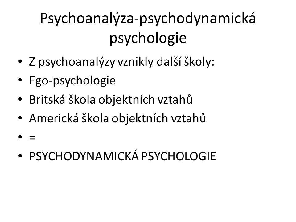 Psychodynamická psychologie Psychodynamická psychologie – jde pod povrch vědomí a snaží se analyzovat podvědomé či nevědomé aktivity psychického života.