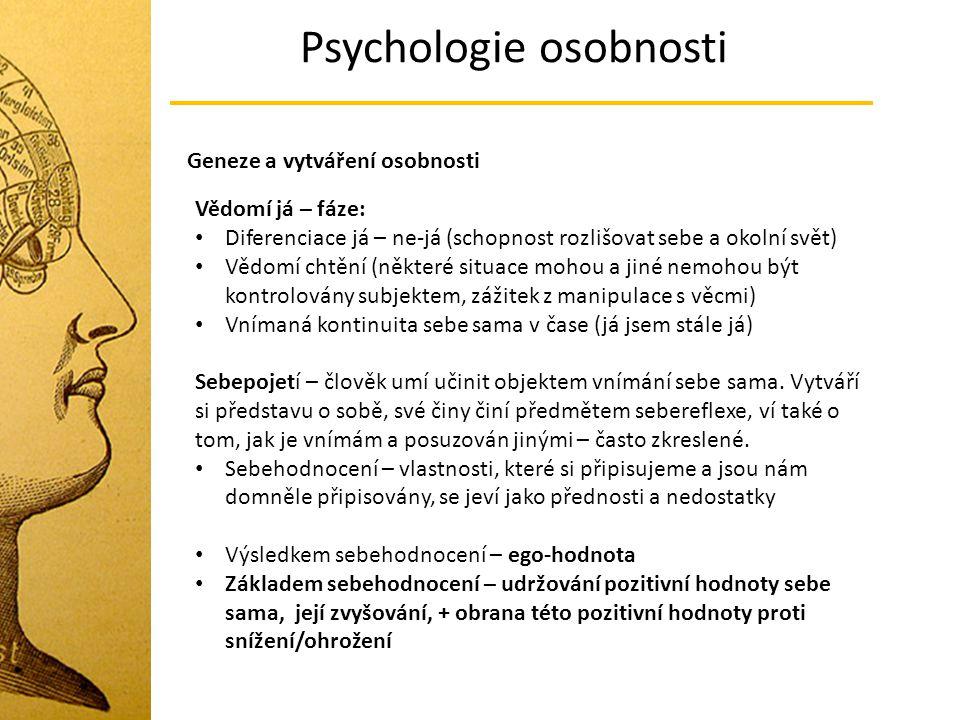 Psychologie osobnosti Geneze a vytváření osobnosti Vědomí já – fáze: Diferenciace já – ne-já (schopnost rozlišovat sebe a okolní svět) Vědomí chtění (