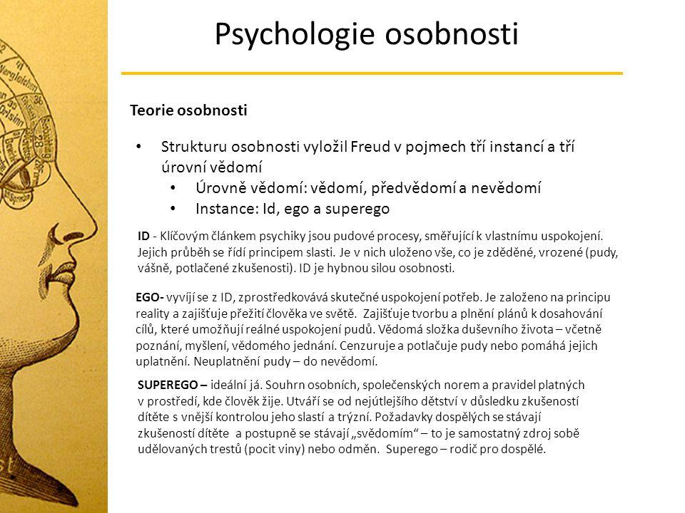 Psychologie osobnosti Teorie osobnosti Strukturu osobnosti vyložil Freud v pojmech tří instancí a tří úrovní vědomí Úrovně vědomí: vědomí, předvědomí
