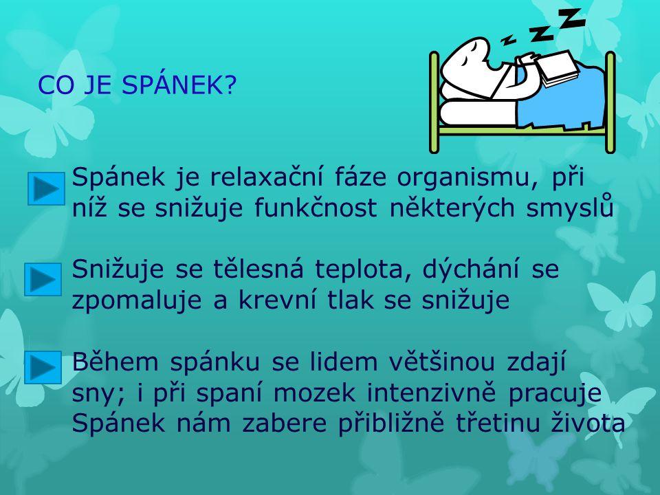 CO JE SPÁNEK? Spánek je relaxační fáze organismu, při níž se snižuje funkčnost některých smyslů Snižuje se tělesná teplota, dýchání se zpomaluje a kre
