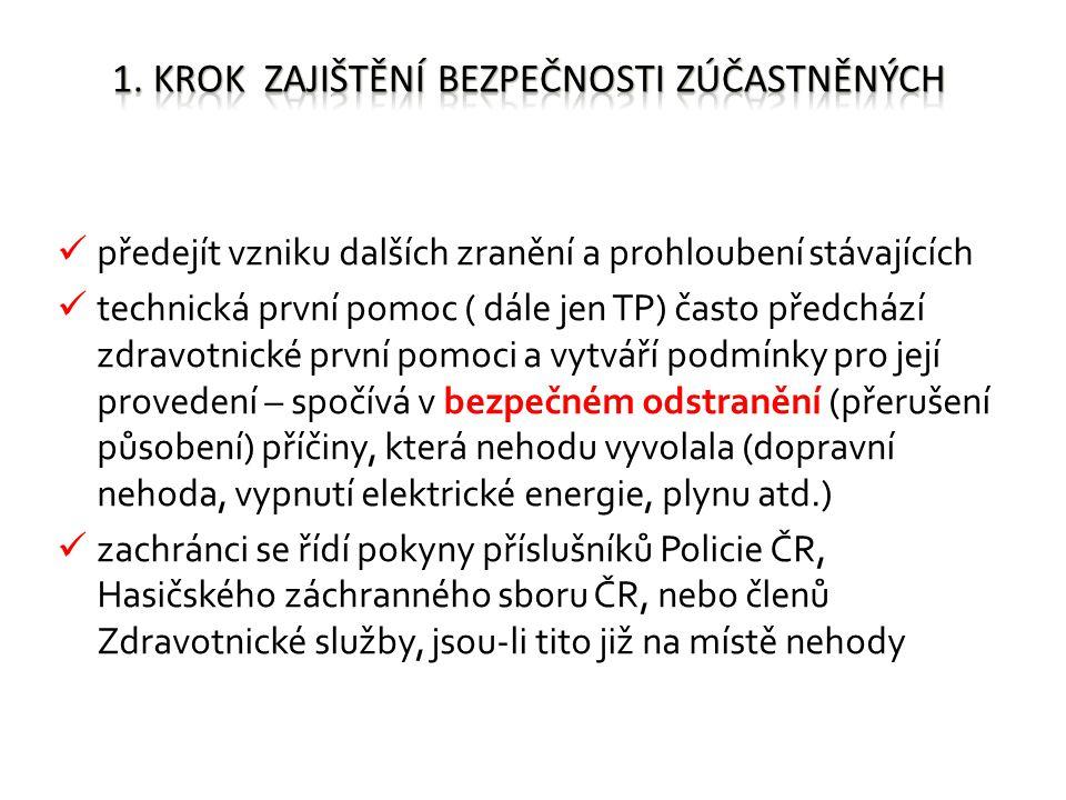 předejít vzniku dalších zranění a prohloubení stávajících technická první pomoc ( dále jen TP) často předchází zdravotnické první pomoci a vytváří podmínky pro její provedení – spočívá v bezpečném odstranění (přerušení působení) příčiny, která nehodu vyvolala (dopravní nehoda, vypnutí elektrické energie, plynu atd.) zachránci se řídí pokyny příslušníků Policie ČR, Hasičského záchranného sboru ČR, nebo členů Zdravotnické služby, jsou-li tito již na místě nehody