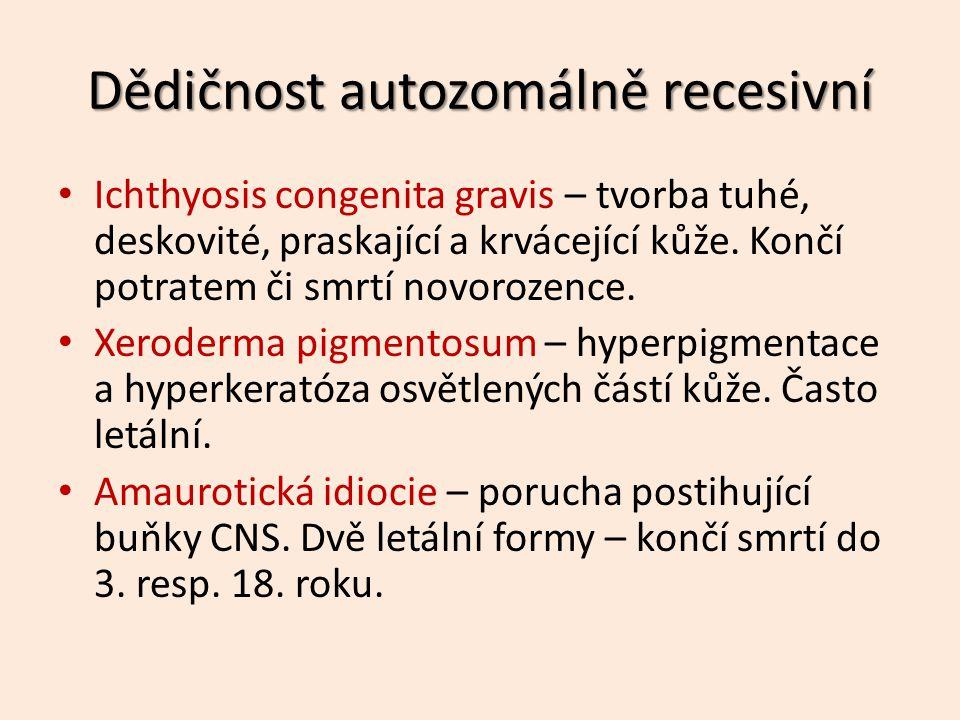 Dědičnost autozomálně recesivní Ichthyosis congenita gravis – tvorba tuhé, deskovité, praskající a krvácející kůže.