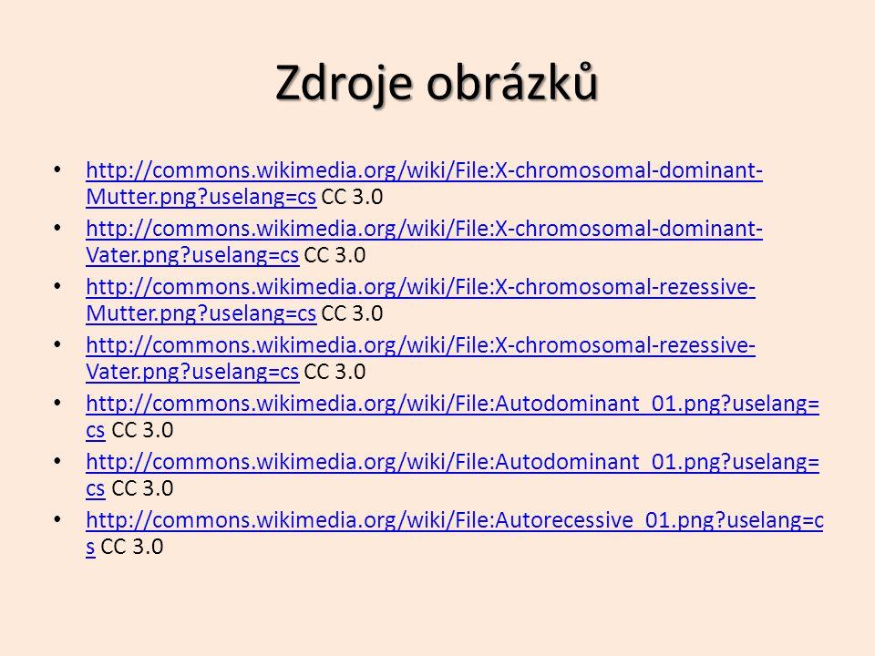 Zdroje obrázků http://commons.wikimedia.org/wiki/File:X-chromosomal-dominant- Mutter.png?uselang=cs CC 3.0 http://commons.wikimedia.org/wiki/File:X-chromosomal-dominant- Mutter.png?uselang=cs http://commons.wikimedia.org/wiki/File:X-chromosomal-dominant- Vater.png?uselang=cs CC 3.0 http://commons.wikimedia.org/wiki/File:X-chromosomal-dominant- Vater.png?uselang=cs http://commons.wikimedia.org/wiki/File:X-chromosomal-rezessive- Mutter.png?uselang=cs CC 3.0 http://commons.wikimedia.org/wiki/File:X-chromosomal-rezessive- Mutter.png?uselang=cs http://commons.wikimedia.org/wiki/File:X-chromosomal-rezessive- Vater.png?uselang=cs CC 3.0 http://commons.wikimedia.org/wiki/File:X-chromosomal-rezessive- Vater.png?uselang=cs http://commons.wikimedia.org/wiki/File:Autodominant_01.png?uselang= cs CC 3.0 http://commons.wikimedia.org/wiki/File:Autodominant_01.png?uselang= cs http://commons.wikimedia.org/wiki/File:Autodominant_01.png?uselang= cs CC 3.0 http://commons.wikimedia.org/wiki/File:Autodominant_01.png?uselang= cs http://commons.wikimedia.org/wiki/File:Autorecessive_01.png?uselang=c s CC 3.0 http://commons.wikimedia.org/wiki/File:Autorecessive_01.png?uselang=c s