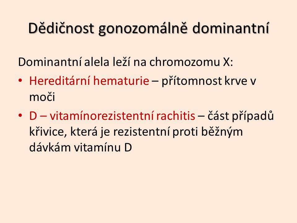 Dominantní alela leží na chromozomu X: Hereditární hematurie – přítomnost krve v moči D – vitamínorezistentní rachitis – část případů křivice, která je rezistentní proti běžným dávkám vitamínu D