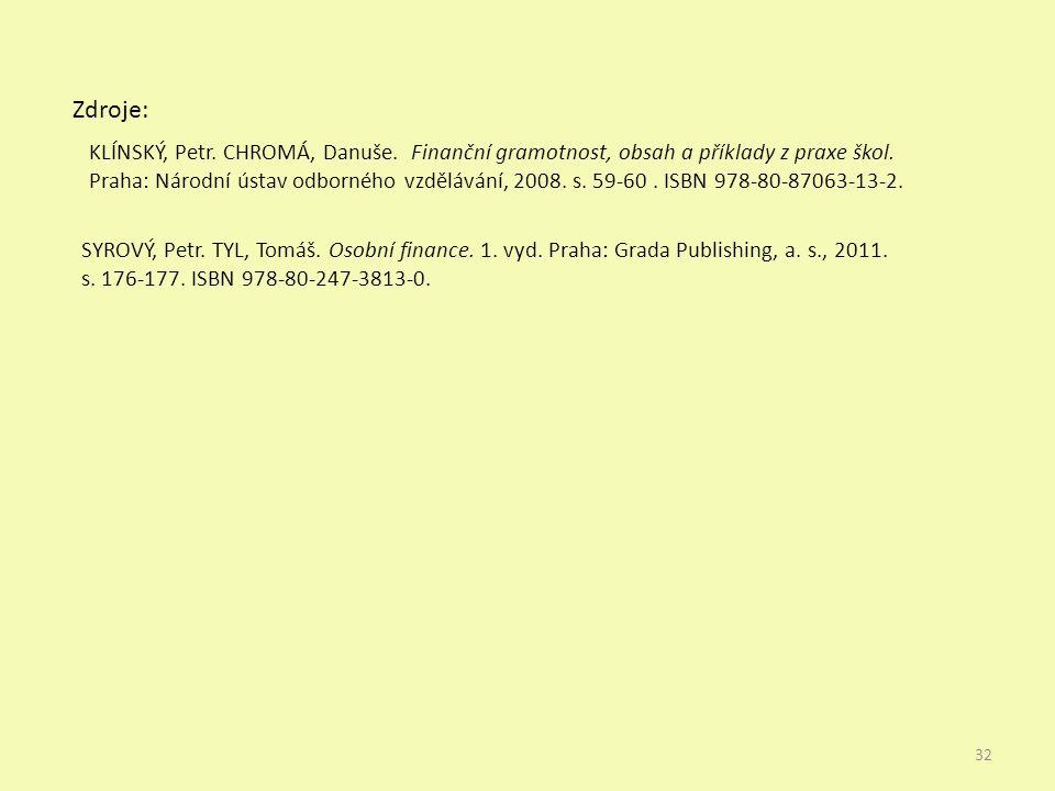Zdroje: 32 SYROVÝ, Petr. TYL, Tomáš. Osobní finance.