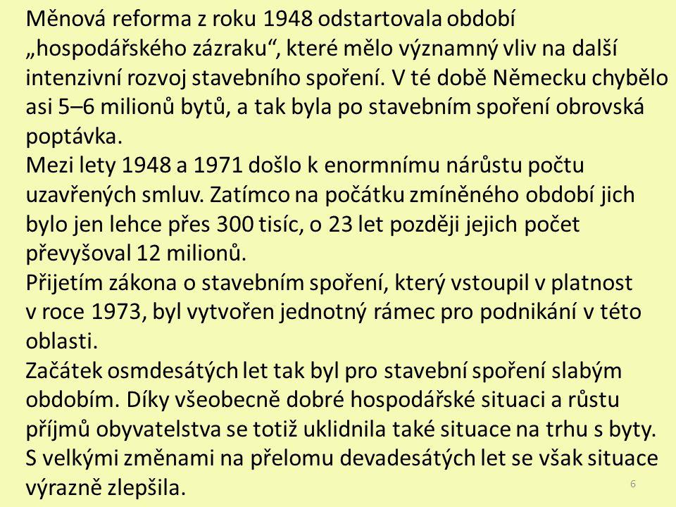 """Měnová reforma z roku 1948 odstartovala období """"hospodářského zázraku , které mělo významný vliv na další intenzivní rozvoj stavebního spoření."""