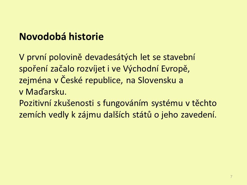 Novodobá historie V první polovině devadesátých let se stavební spoření začalo rozvíjet i ve Východní Evropě, zejména v České republice, na Slovensku a v Maďarsku.