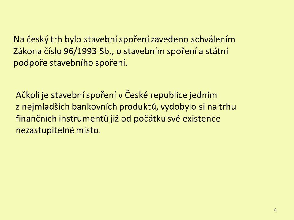 Na český trh bylo stavební spoření zavedeno schválením Zákona číslo 96/1993 Sb., o stavebním spoření a státní podpoře stavebního spoření.