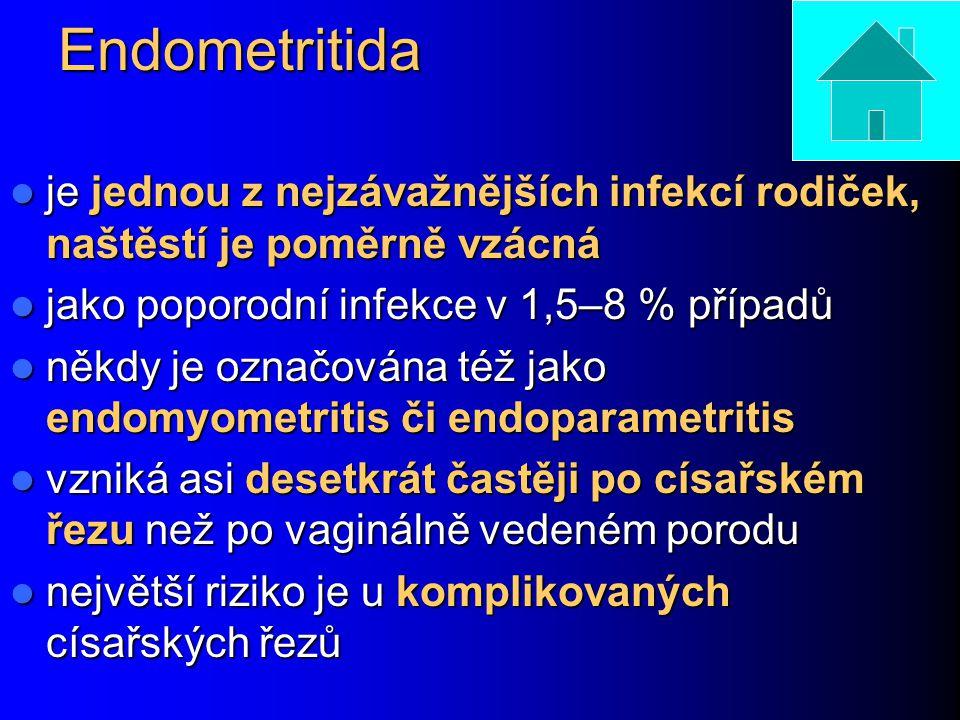Endometritida je jednou z nejzávažnějších infekcí rodiček, naštěstí je poměrně vzácná je jednou z nejzávažnějších infekcí rodiček, naštěstí je poměrně