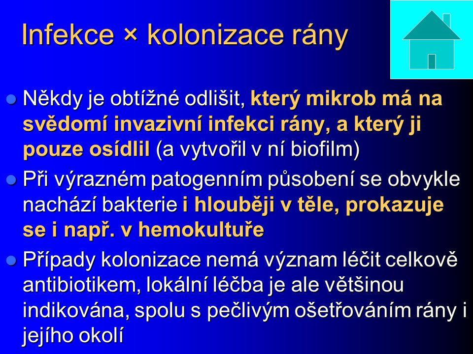 Infekce × kolonizace rány Někdy je obtížné odlišit, který mikrob má na svědomí invazivní infekci rány, a který ji pouze osídlil (a vytvořil v ní biofi