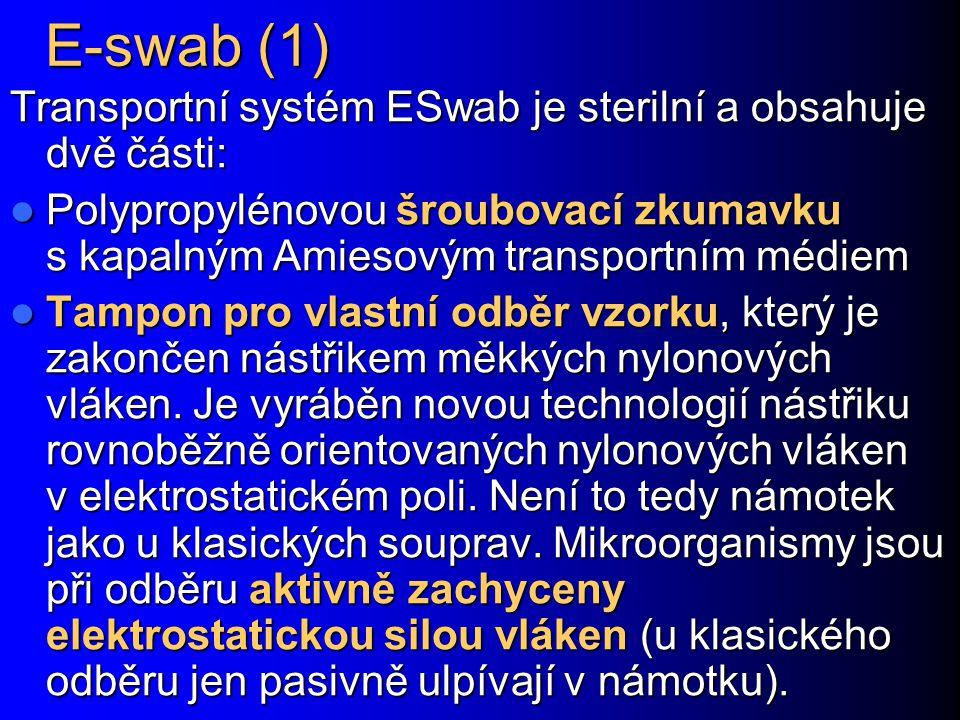 E-swab (1) Transportní systém ESwab je sterilní a obsahuje dvě části: Polypropylénovou šroubovací zkumavku s kapalným Amiesovým transportním médiem Po