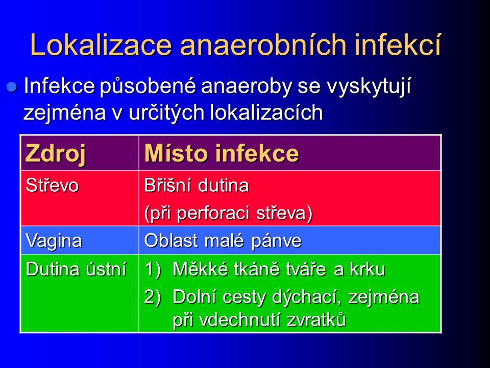 Lokalizace anaerobních infekcí Infekce působené anaeroby se vyskytují zejména v určitých lokalizacích Infekce působené anaeroby se vyskytují zejména v