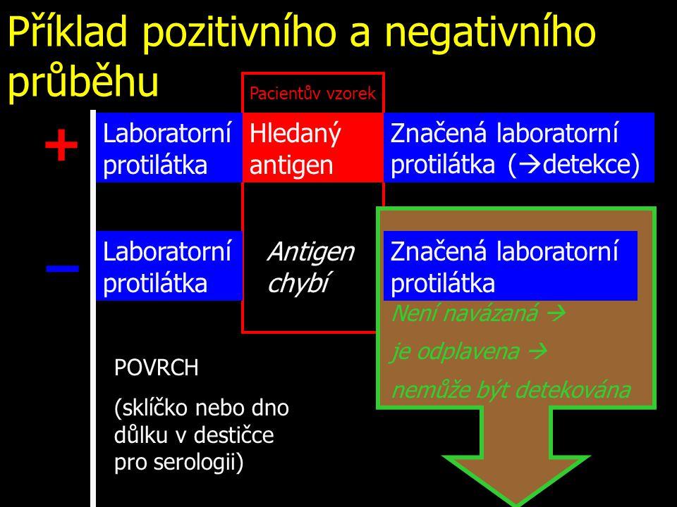 Příklad pozitivního a negativního průběhu Laboratorní protilátka Hledaný antigen Antigen chybí Značená laboratorní protilátka (  detekce) Značená lab