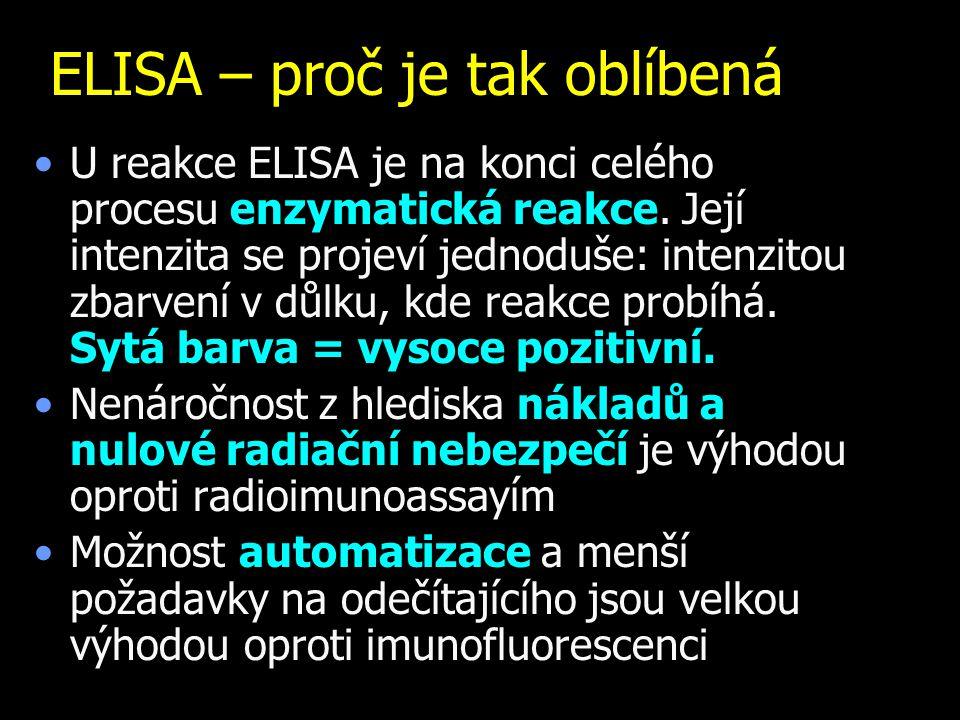 ELISA – proč je tak oblíbená U reakce ELISA je na konci celého procesu enzymatická reakce. Její intenzita se projeví jednoduše: intenzitou zbarvení v.