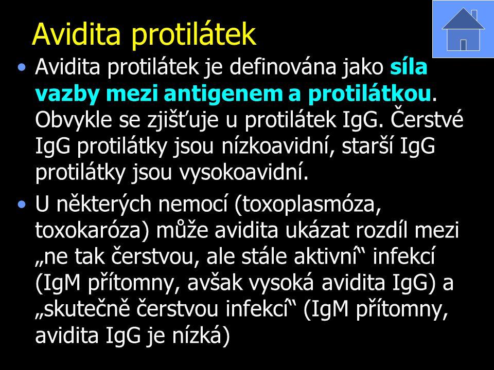 Avidita protilátek Avidita protilátek je definována jako síla vazby mezi antigenem a protilátkou. Obvykle se zjišťuje u protilátek IgG. Čerstvé IgG pr