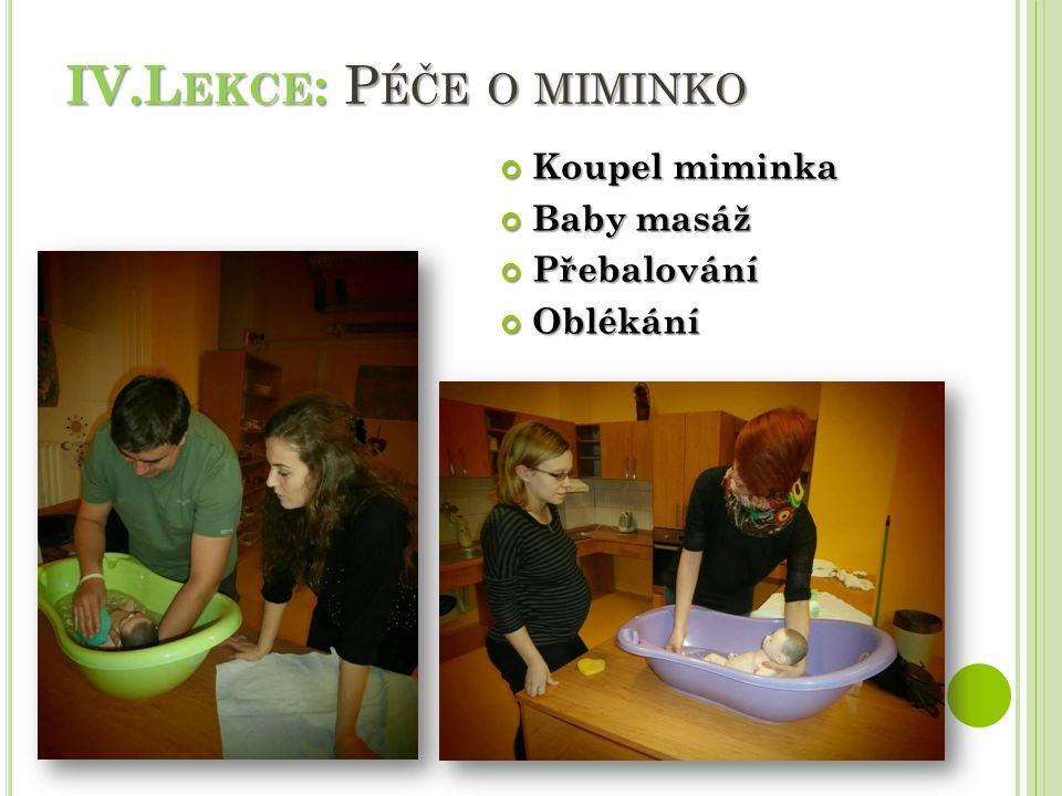 IV.L EKCE : P ÉČE O MIMINKO Koupel miminka Baby masáž PřebalováníOblékání