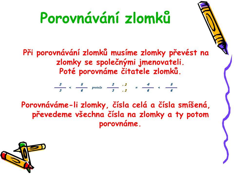 Společný jmenovatel zlomků Společný jmenovatel dvou nebo více zlomků je číslo, které je nejmenším společným násobkem všech jmenovatelů. Pomocí krácení