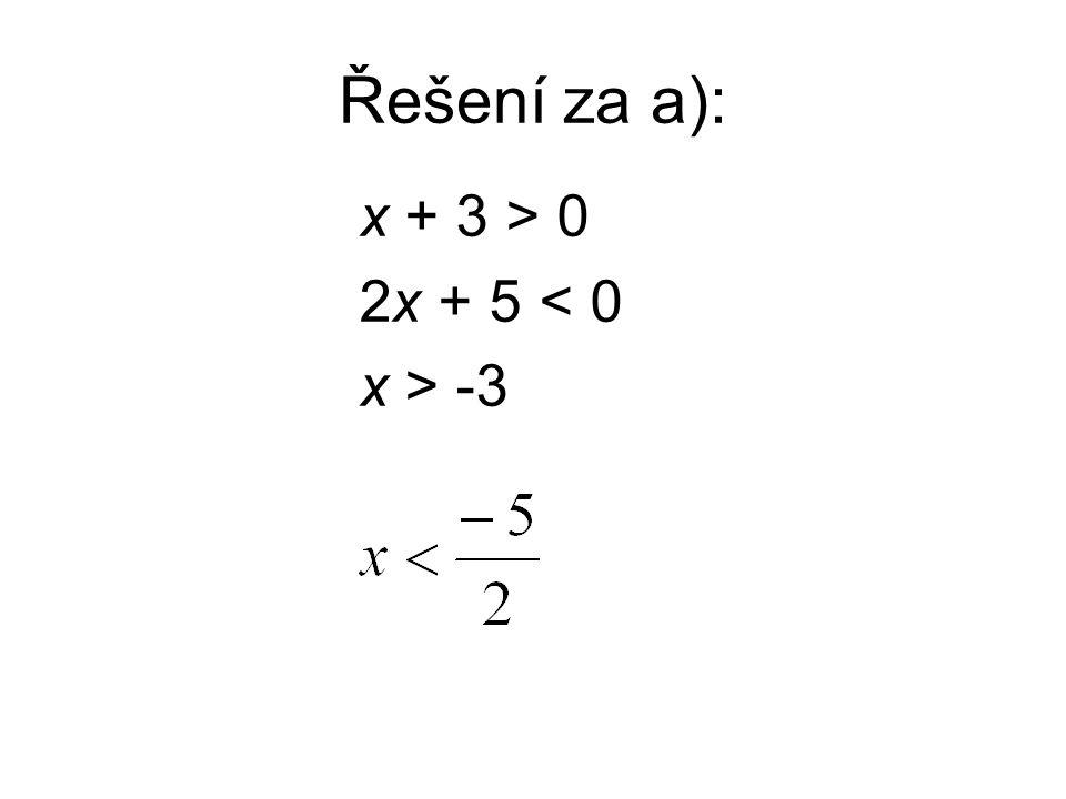 Řešení za a): x + 3 > 0 2x + 5 < 0 x > -3