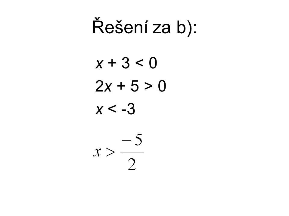 Řešení za b): x + 3 < 0 2x + 5 > 0 x < -3