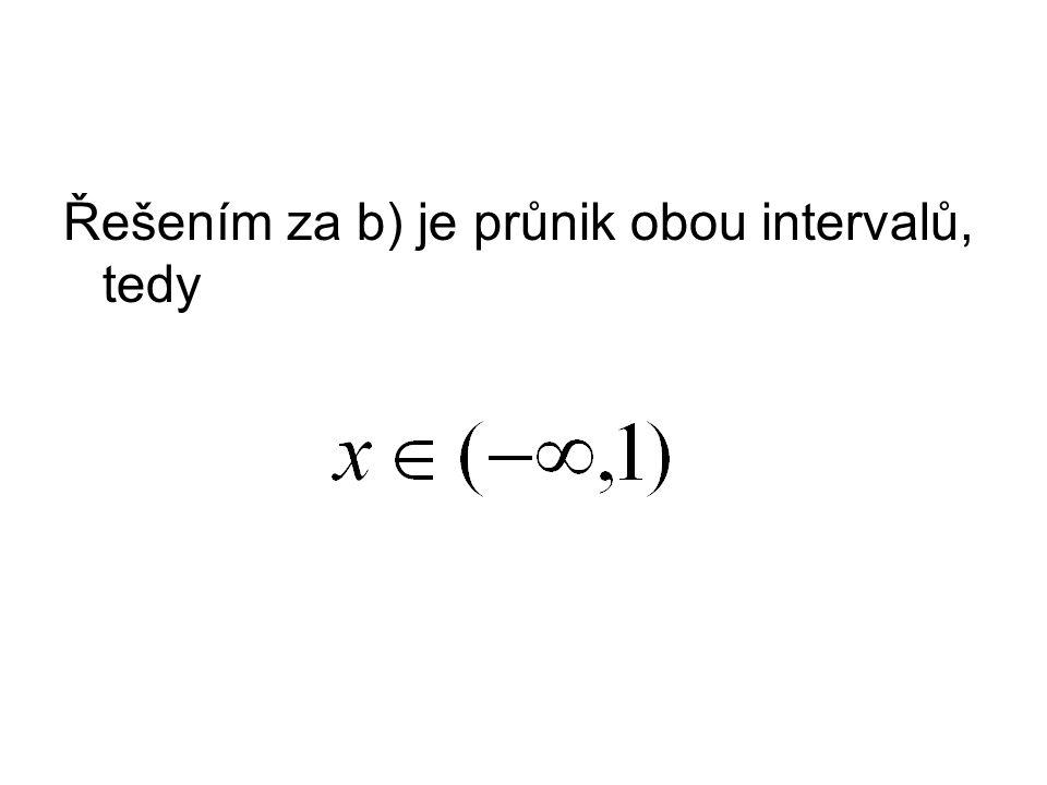 Řešením za b) je průnik obou intervalů, tedy