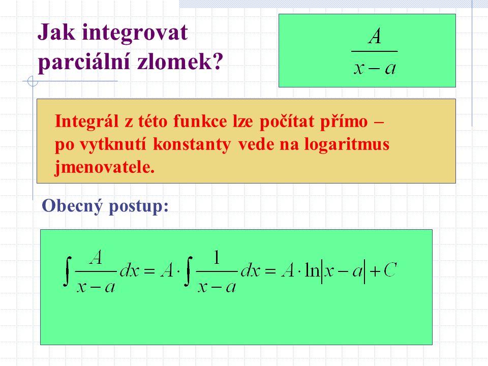 Jak integrovat parciální zlomek? Integrál z této funkce lze počítat přímo – po vytknutí konstanty vede na logaritmus jmenovatele. Obecný postup: