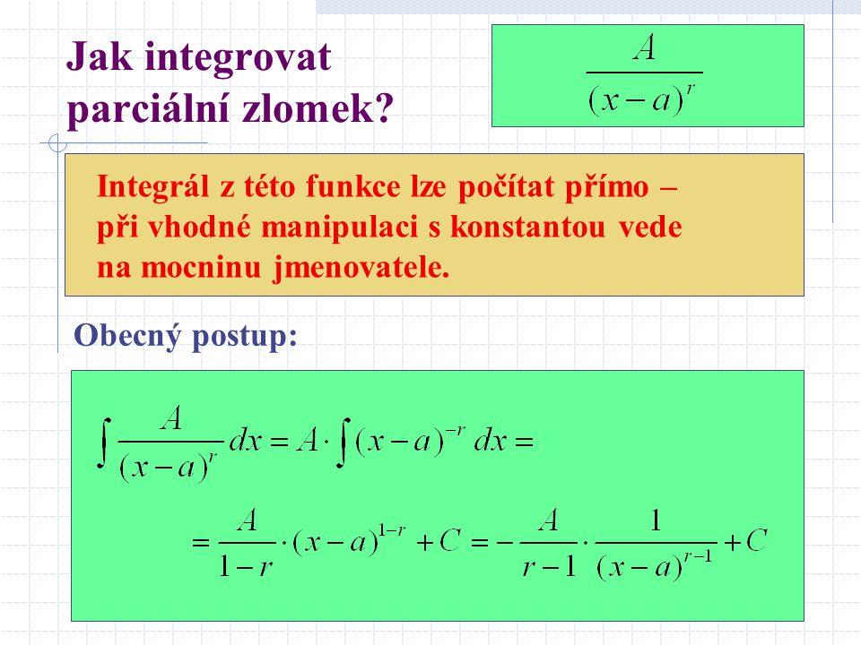 Jak integrovat parciální zlomek? Integrál z této funkce lze počítat přímo – při vhodné manipulaci s konstantou vede na mocninu jmenovatele. Obecný pos