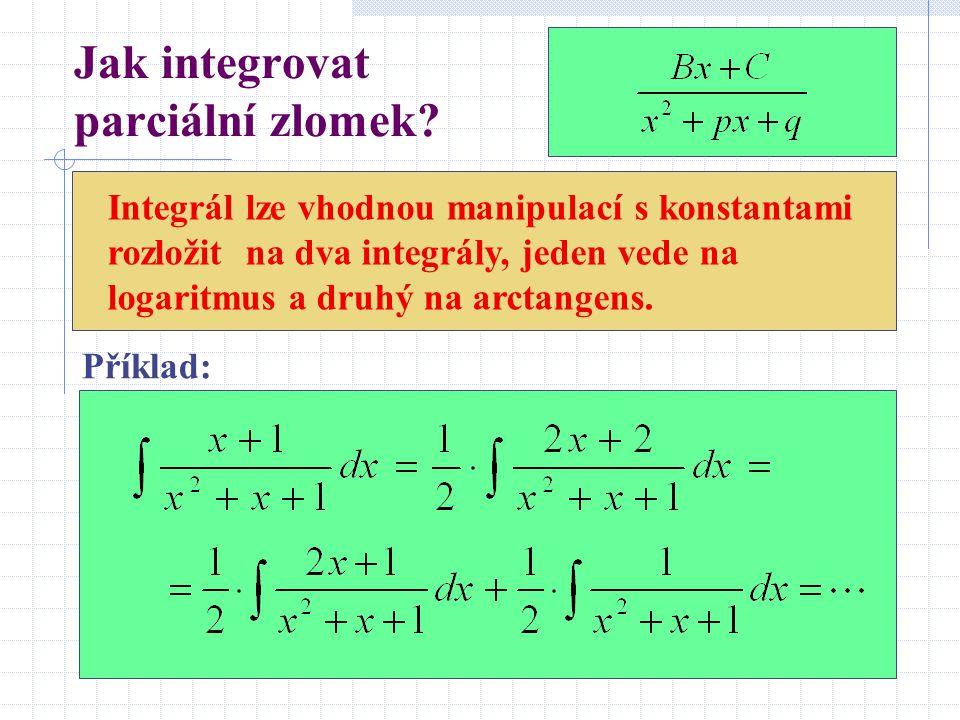 Jak integrovat parciální zlomek? Integrál lze vhodnou manipulací s konstantami rozložit na dva integrály, jeden vede na logaritmus a druhý na arctange