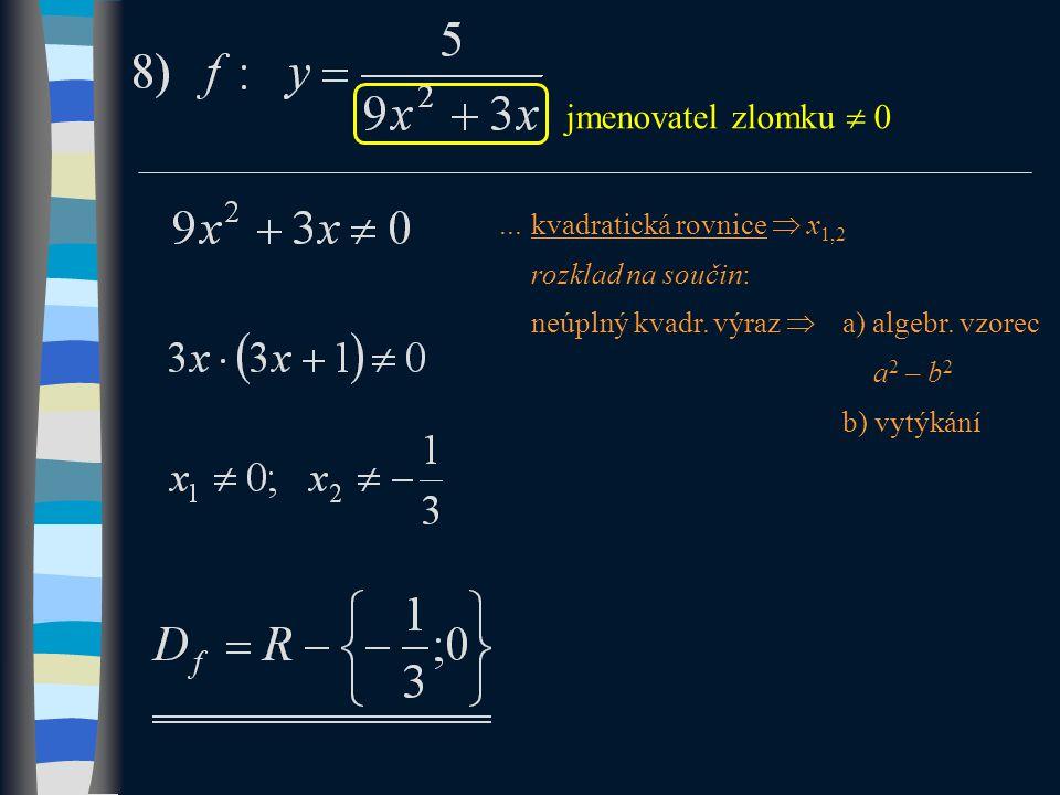 jmenovatel zlomku  0...kvadratická rovnice  x 1,2 rozklad na součin: neúplný kvadr.