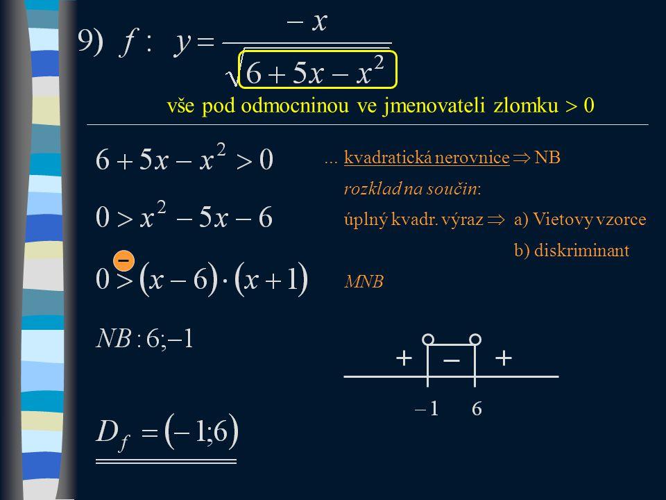 vše pod odmocninou ve jmenovateli zlomku  0...kvadratická nerovnice  NB rozklad na součin: úplný kvadr.