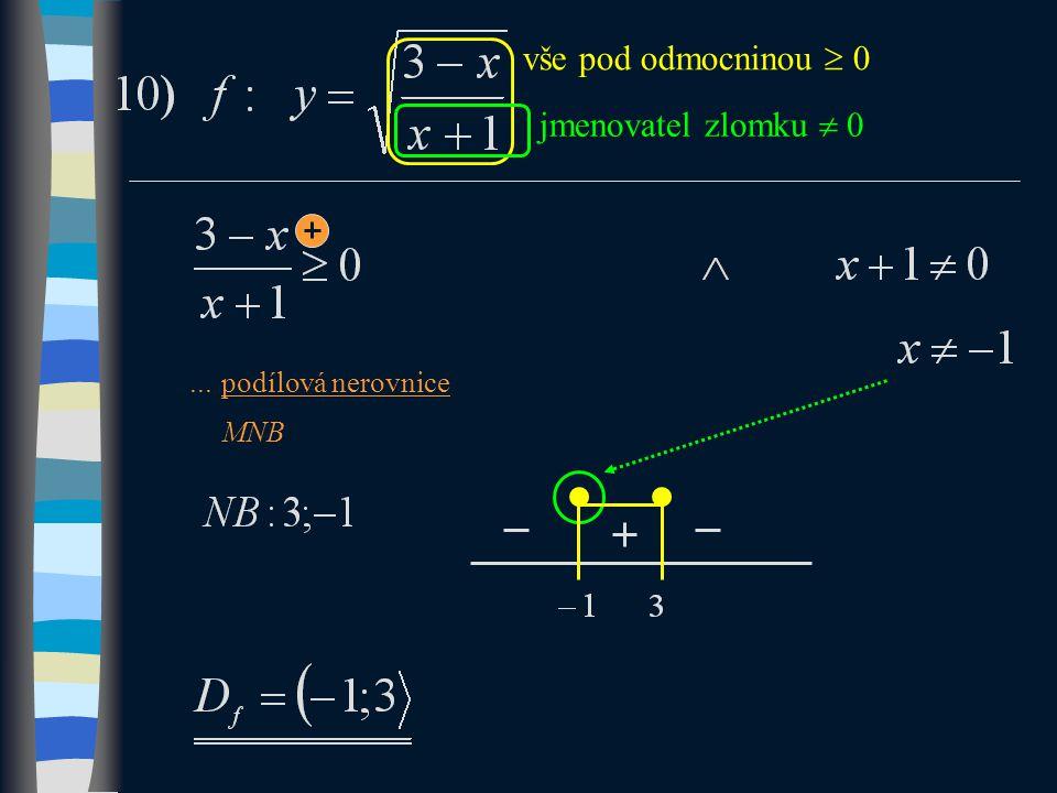 vše pod odmocninou  0...podílová nerovnice MNB jmenovatel zlomku  0