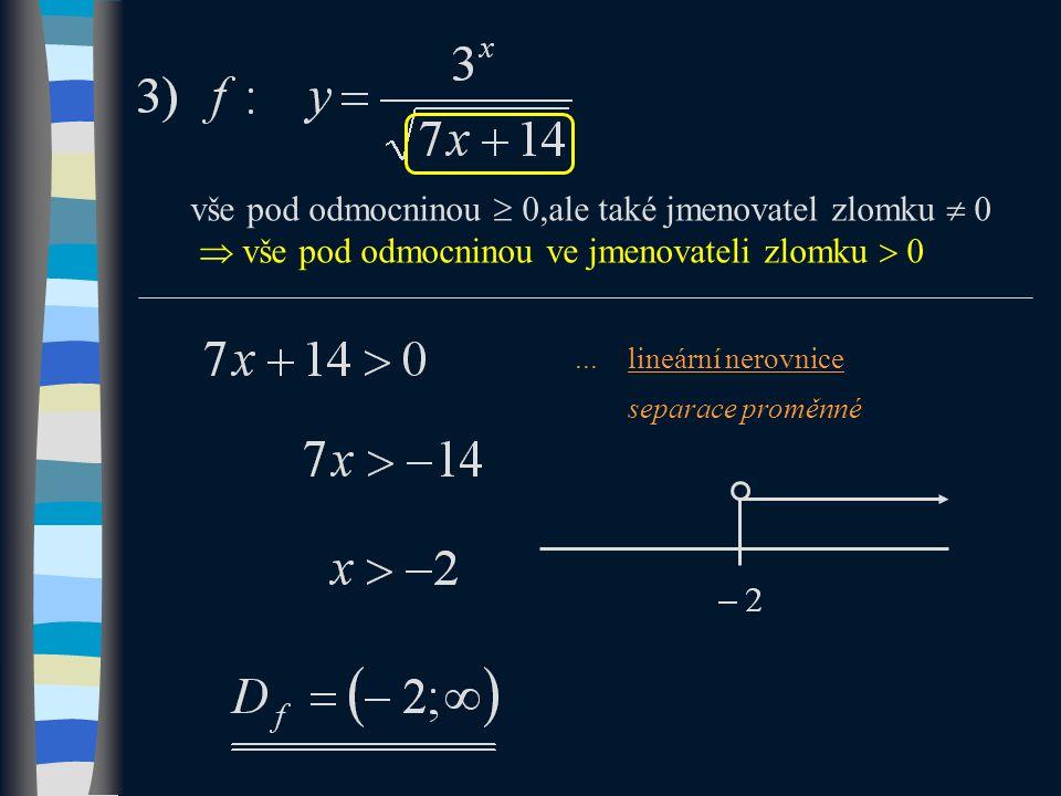 ...lineární nerovnice separace proměnné vše pod odmocninou  0,ale také jmenovatel zlomku  0  vše pod odmocninou ve jmenovateli zlomku  0